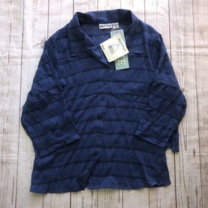 Apparenza button front blouse 3/4 sleeve blue